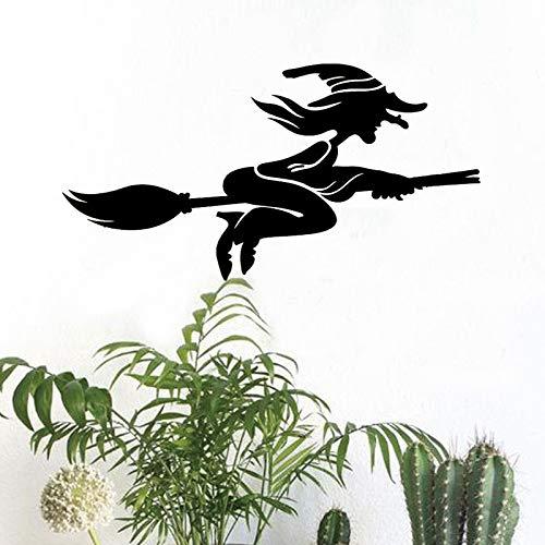 Wandtattoo Wandsticker Wandaufkleber,Halloween Schlafzimmer Wohnzimmer Fliegende Hexe Besen Wandaufkleber