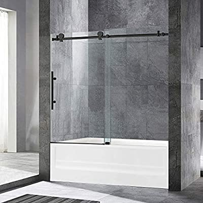 "WOODBRIDGE Frameless Sliding Bathtub Shower, 56""-60"" Width, 62"" Height, 3/8"" (10 mm) Clear Tempered Glass, Matte Black Finish, Designed for Smooth Door Closing and Opening. MTDC6062-MBL, 60""x62"","