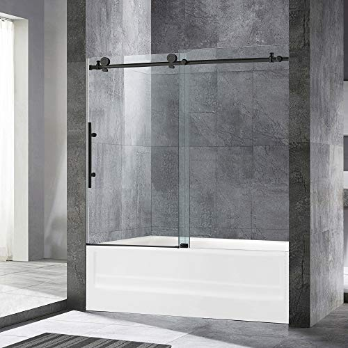 WOODBRIDGE MTDC 6062-MBL Frameless Bathtub Shower Doors 56-60' Width x 62' Height with 3/8'(10mm) Clear Tempered Glass in Matte Black Finish