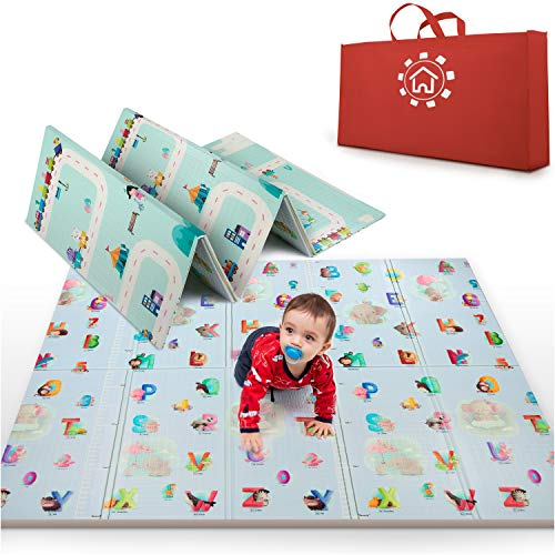 MARBS Baby Play Mat Extra Large 77quotx70quot AntiSlip amp Waterproof  Foldable Play Mat for Baby 03 Double Sided 2 Designs to Improve Learning amp Focus Thick Foam Mat for Kids Indoor amp Outdoor
