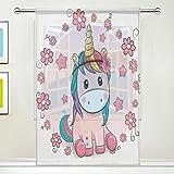 ISAOA Rideau simple en tulle transparent avec motif fleurs et licorne pour fenêtre de salon, chambre à coucher, maison et décoration, 132 x 213cm, Polyester, rose, 55x84x1(in)