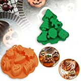 Halloween Christmas Silicone Baking Molds Set Nonstick Chocolate Cake Pan Molds Christmas Tree Pumpkin Bat Skull Ghost Shape Candy Mold for Kitchen DIY Baking Tools (Round+Tree)