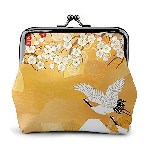 Monedero monedero de cuero de la PU bolso hermoso kimono de Japón para mujer cartera embrague bolso señoras retro vintage impresión pequeño cerrojo