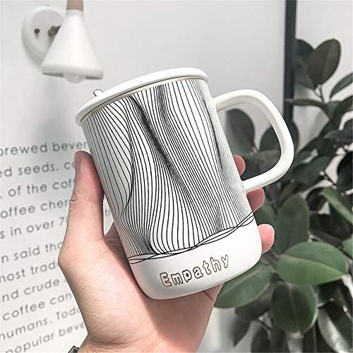 Subink Becher, Coffee-to-go-Becher, einfache schwarz-weiß gestreifte Keramikbecher im nordischen Stil, Kaffeetasse mit Deckel und Löffel für literarische Kunst