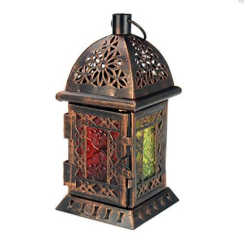 Orientalische Laterne - Windlicht für Balkon oder Garten - Deko Lampe Marokko Orient - Dekoration Weihnachtsdeko Adventsdeko (Einzeln - Design 2)