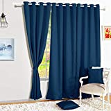 Story@Home Blackout Eyelet 2 Piece Faux Silk Ring top Door Curtain-7 feet, Navy
