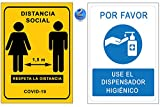 Señalización Coronavirus | Pack 2 Señales Dispensador Gel + Distancia Social 1,5 m | Carteles...