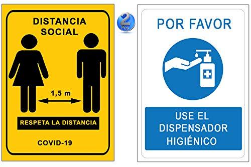Signalization Coronavirus - Confezione da 2 segnalibri dispenser in gel + distanza sociale, cartelli COVID 19 per imprese e commerciali, autoinstallabili, 21 x 30 cm, sconti per quantità