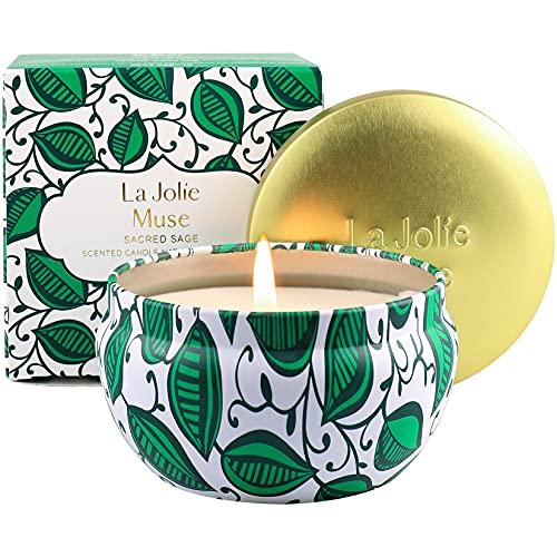 La Jolíe Muse Salbei Kerze, 100% natürliches Sojawachs für zu Hause, Salbei-Lavendel-Rosmarin, 35-45 Stunden Brenndauer, Dose, 185g