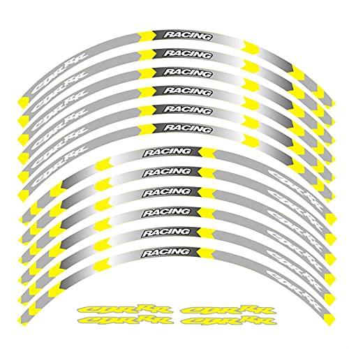 Protector de Cubo Accesorios para Motocicletas Pegatina de Rueda Calcomanía Reflectante Rim Bici Cinta de Rayas adecuadas para HON-DA CBR RR CBR1000 600RR 650R 300R (Color : N)