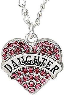 Legisdream Collar del corazón de la Hija con óxido de circonio cúbico de Color Rosa con la Hija escrita - Hija de la Joya ...