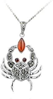 Mkxiaowei Lady Necklace S925 Thai Silver Necklace Inlaid Gemstone Pendant Sweater Chain Crab-Shaped Silver Jewelry Jewelry to Send a Woman's Gift