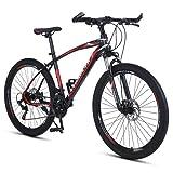 T-Day Bicicleta Montaña 26 En Bicicleta De Montaña 21/24/27 Velocidades con Freno De Doble Disco Marco De Acero Al Carbono Bicicleta para Niños Chicas Hombres Y Wome(Size:21 Speed,Color:Rojo)