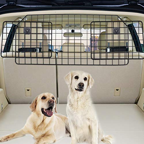 Vetoos Dog Car Barrier for SUV, Vehicles Pet Divider Gate for Trunk Cargo Area - Extendable for Universal Fit, Straps & Bungee Cords for Double Stability, Rust-Proof Metal Mesh