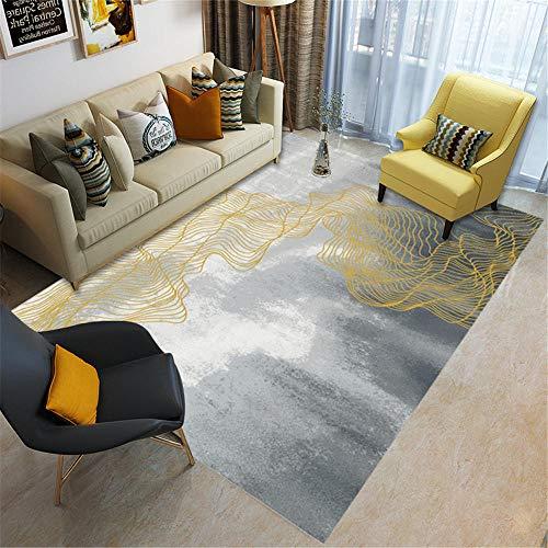 Kunsen La alfombras Lavable Tacto Suave Alfombras Fondo de Tinta Blanca Gris con diseño de Graffiti Abstracto Amarillo Fácil de Limpiar Suelo La alfombras 50 * 80cm