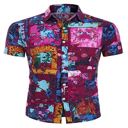 Qishi Herren-Hawaii-Hemd, kurzärmelig, bedrucktes Hemd, Schwimmen, Urlaub, Strand, Oberteil, M-5XL Gr. XL, Kostenlose Farbe