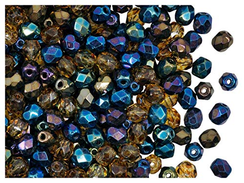 100 piezas, 4 mm, Cuentas de vidrio facetado redondas checo, Fire-Polished, Jet/Heavy Metal Mix