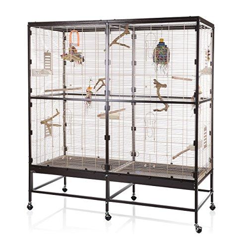 Montana Cages ® | Vogelvoliere Paradiso 150 | braun/ahornbeige | artgerechter Wellensittichkäfig | Voliere für Wellensittiche, Nymphensittiche & Co.