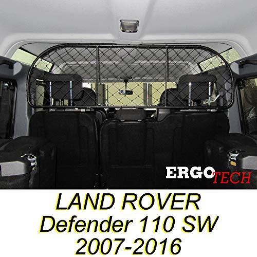 ERGOTECH Divisorio Griglia Rete Divisoria per Land Rover Defender 110 SW (2007-2016) RDA65-XL, per Trasporto Cani e Bagagli