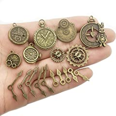 YoudiylaUK 30 pcs Mixed Antique Bronze Watch Clock Face Gear Steam Punk time Charms Pendants DIY Necklace Bracelet Pendants for Jewelry Making M71 #3
