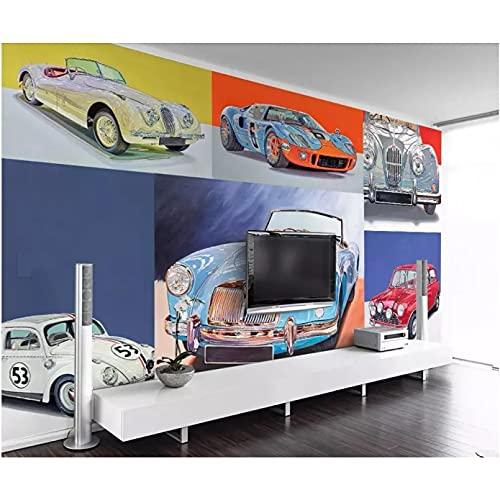 Mural papel tapiz 3d fresco retro nostálgico de lujo coche deportivo sala de estar mural 3d papel tapiz mural pared 3d 350x245cm