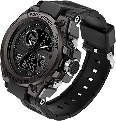 Reloj digital militar de oro negro, resistente al agua, para deportes al aire libre, cronómetro, reloj despertador electrónico LED táctico para difícil supervivencia, negro