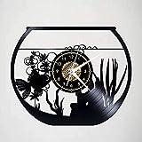 Reloj de Pared de Vinilo Reloj de Pared con Registro de Vinilo de Peces de Acuario Creativo Reloj de Pared de Arte conmemorativo Decoración de Dormitorio Hecha a Mano-Sin luz LED