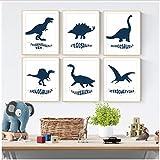 Dinosaure Tyrannosaurus Pterosaur Affiches Et Impressions Dessin Animé Mur Art Toile Peinture Mur Photos Pour Bébé Enfants Chambre Décor 40x50x6 Pcscm Sans Cadre