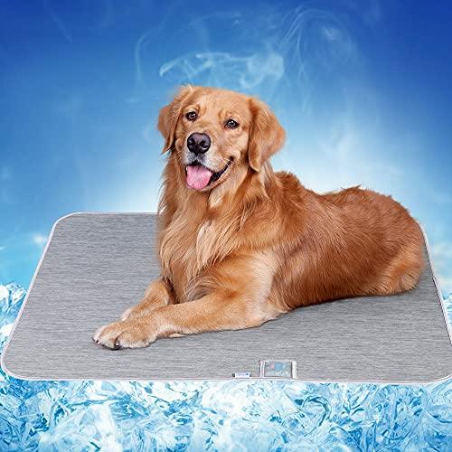 Alfombra Refrescante para Perros Gatos, Luxear Alfombrilla Refrescante para Mascotas Desodorante Antibacterianas Antimoho Antiácaros 70x90cm ARC-Chill Q-MAX>0,4 Colchonetas Camas para Perro, Gris