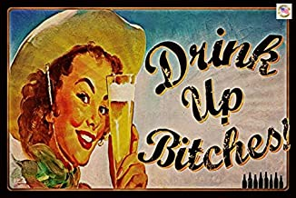 ALOTALOHA Drink UP! Funny Bar Sign Made in USA! 8