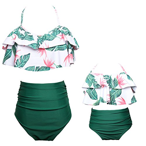 Yaffi Family Matching Swimwear Costume Two Piece Bikini Set Bathing Suit Ruffles Leaf Printed Off Shoulder Beach Wear Boys 2 Years Pink