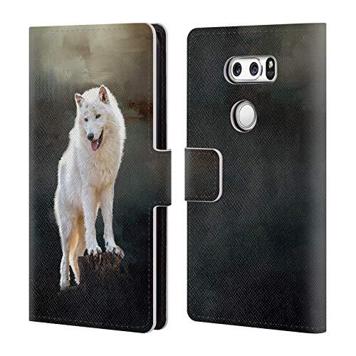 Head Case Designs Offizielle Simone Gatterwe Arktischer Wolf Tiere 2 Leder Brieftaschen Huelle kompatibel mit LG V30 / V30S ThinQ / V35 ThinQ