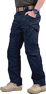 TACVASEN Men's Cargo Combat Work Trousers Military Outdoor Pants with Zip Pockets