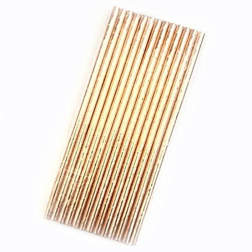 50 PCS Abbaubare Farben-Umweltschutz Gestreift, Papier, Stroh Einweg Kraft Papier Straw Küchenhelfer QiuGe (Color : Gold)