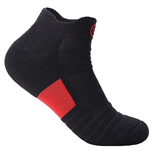 SHHMA Calcetines Cortos Deportivos de Tobillo para Hombre 3 Pares de Calcetines de Barco de Corte bajo engrosados con Parte Inferior de Toalla para Correr al Aire Libre, Senderismo,Negro