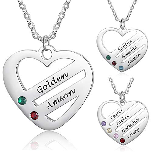 DaMei Personalisierte Namenskette Silber mit Herz Anhänger Frauen Halsketten mit 2-4 Namen Gravur Namenskette Geburtstag Schmuck für Mütter BFF Freundin (2 Names)