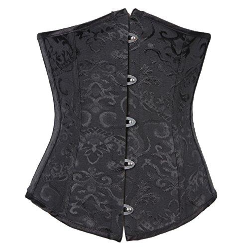 FeelinGirl Damen Korsage Unterbrustkorsett Satin Bauchweg Corsage Waist Cincher Top Tailenmieder Dessous 6XL Black