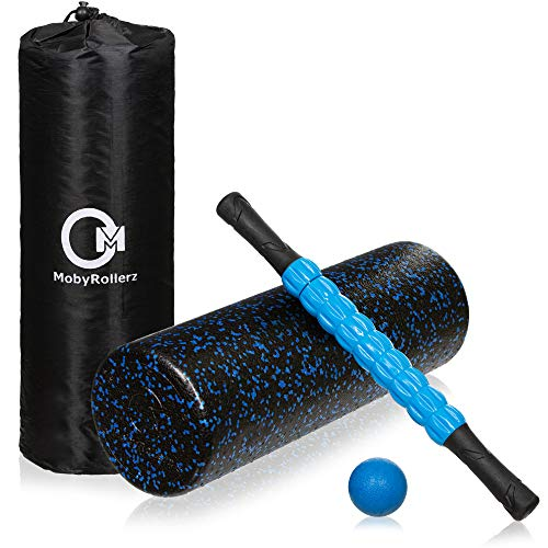 "MobyRollerz Foam Roller Set - 18"" Foam Roller, Massage Stick, Massage Ball - 4 in 1 Deep Tissue Massager with Travel Bag - Black and Blue"