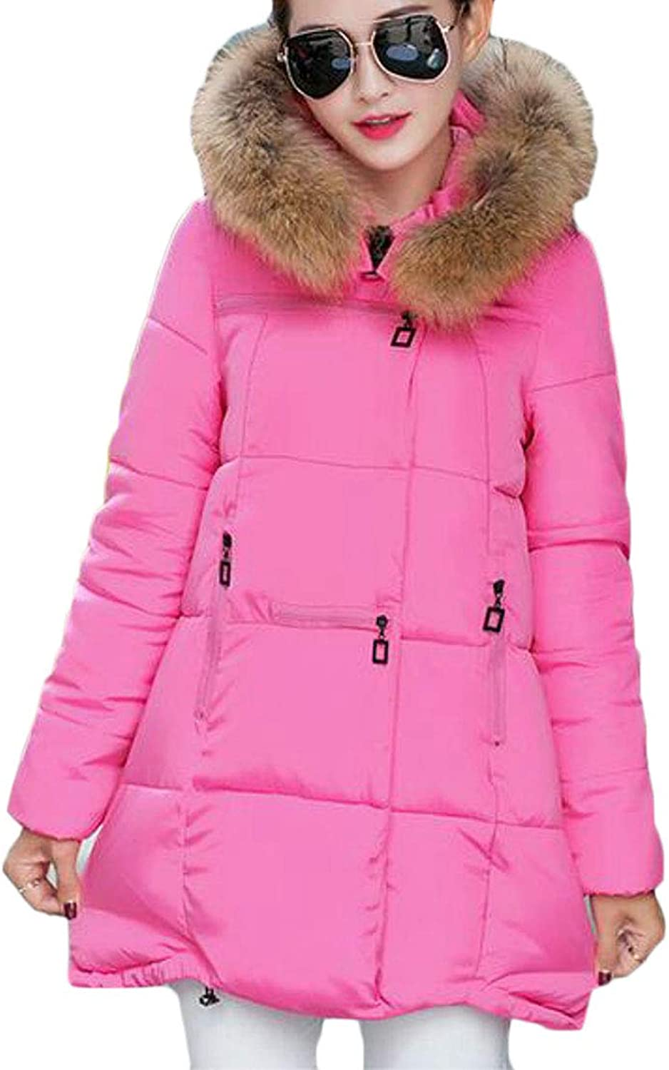 Suncolor8 Womens ALine Faux Fur Hoodie Winter Plus Size Down Quilted Jacket Coat Outerwear