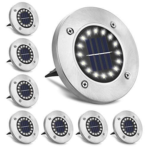 Luces solares para jardín, luz de suelo Emeritpro 16 LED, luz solar impermeable para jardín IP65, para césped, entrada, terraza, jardín, paquete de 8