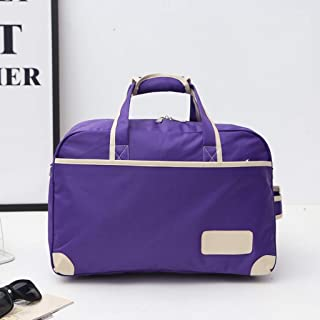 Foldable Duffle Bag, Portable Gym Bag, Travel Luggage Bag, with Adjustable Shoulder Strap, Overnight Camping, Waterproof and Tear Resistant (Color : Purple)