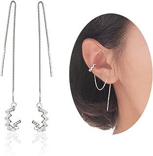 MSECVOI 925 Sterling Silver Wave Cuff Chain Earrings Wrap Tassel Earrings for Women Perfect