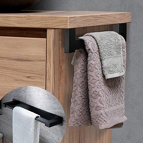 RUICER Toallero de baño, sin agujeros, color negro, autoadhesivo, barra de toalla para baño, acero inoxidable