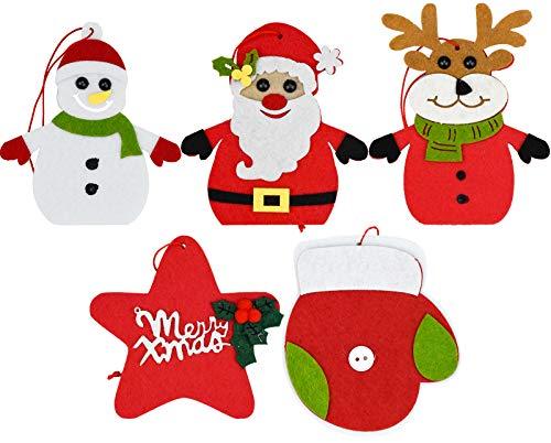 KARAA 5 Colgantes para árbol de Navidad, Adornos navideños de Fieltro, Papá Noel, muñeco de Nieve, Ciervo, Poinsettia