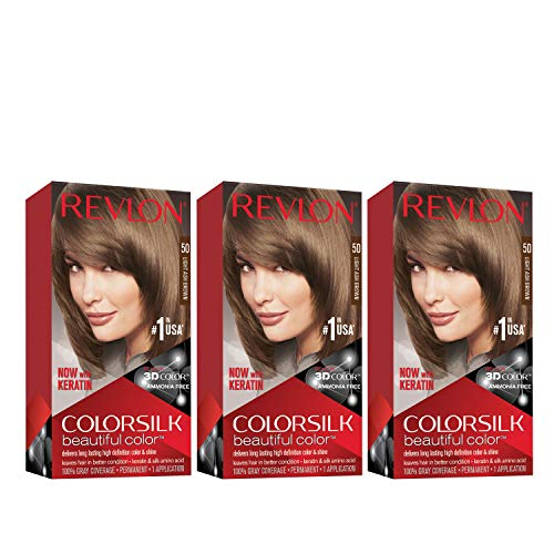 Revlon Colorsilk Beautiful Color Permanent Hair Color with 3D Gel Technology & Keratin, 100% Gray Coverage Hair Dye, 50 Light Ash Brown, 4.4 oz (Pack of 3)