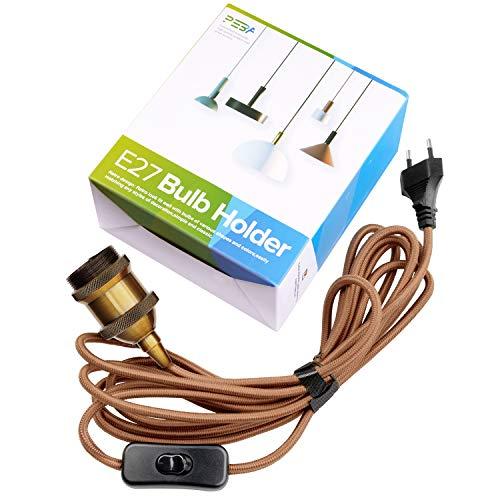 E27 Fassung mit Kabel und Schalter, E27 Vintage Lampenfassung mit Schalter, Edison Fassung mit 3,5 m BraunemTextilkabel, Für Kronleuchter, Stehlampen, PEBA