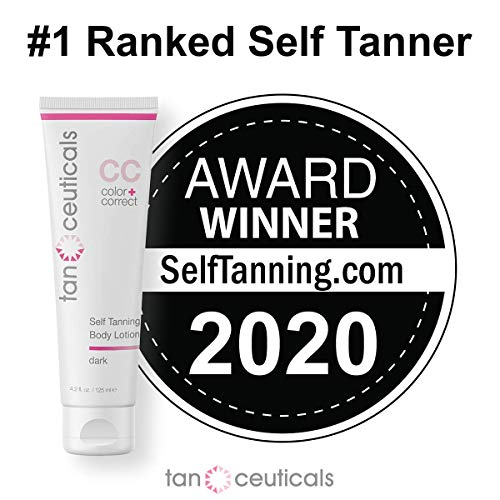 Tanceuticals Self Tanner - CC Self Tanning Lotion for Body Gives Natural, Long Lasting Sunless Tan - Fresh Coconut Scent and Full of Healthy Cosmeceuticals - Easy to Apply - Dark 4.2 oz