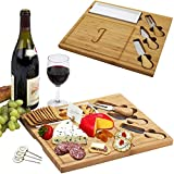 Picnic at Ascot Personalized Monogrammed Engraved Bamboo Cutting Board for Cheese & Charcuterie Platter- includes Knives, Ceramic Dish, & Cheese Markers - Designed and Quality Checked in USA