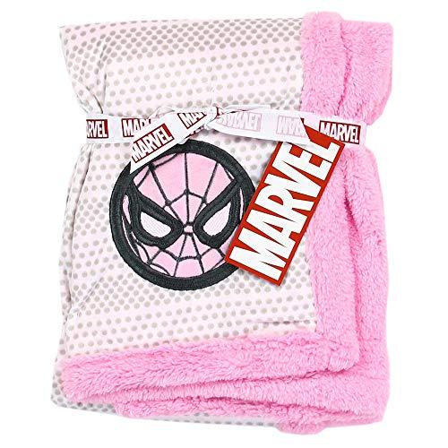 Spiderman Super Soft Mink/Sherpa Girls Baby Blanket. 30 inch x 30 inch. Pink