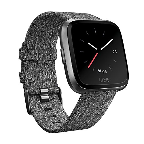 Fitbit Versa Unisex Health and Fitness Smartwatch, Onesize(Charcoal Woven)
